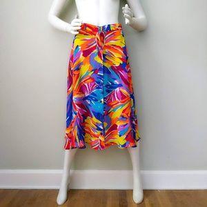 Vtg 80s Rainbow Graffiti Print Crepe Midi Skirt SM